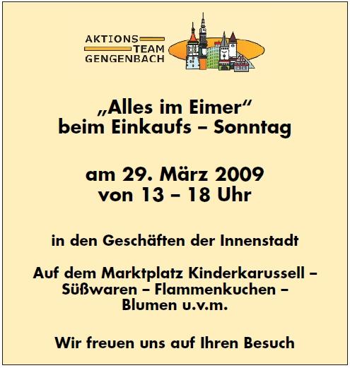 Aktionsteam Gengenbach - Einkaufssonntag - 29.03.2009 - Titelblatt Amtsblatt