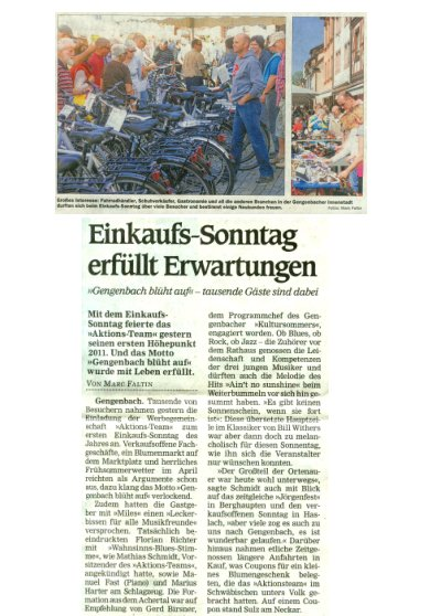 Aktionsteam Gengenbach - Nachbericht - Verkaufsoffener Sonntag - 11.04.2011 - OT - Marc Faltin