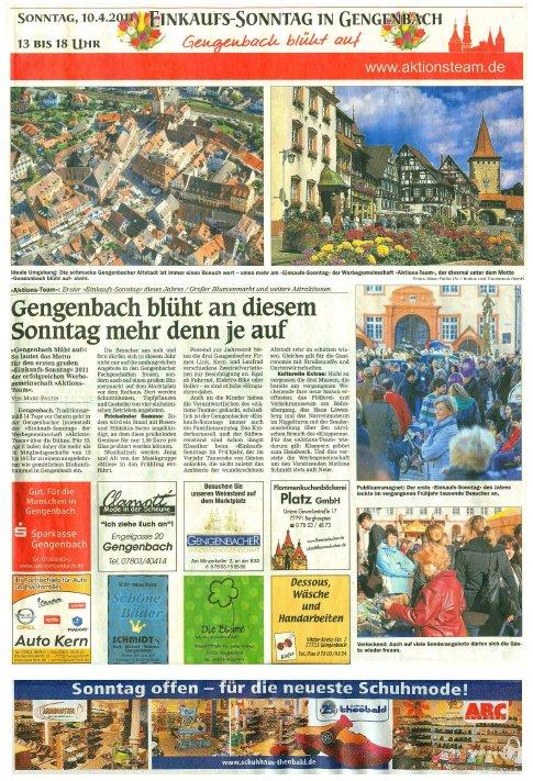 Aktionsteam Gengenbach - Zeitungsbericht - OT - 06.04.2011 - Teil 1