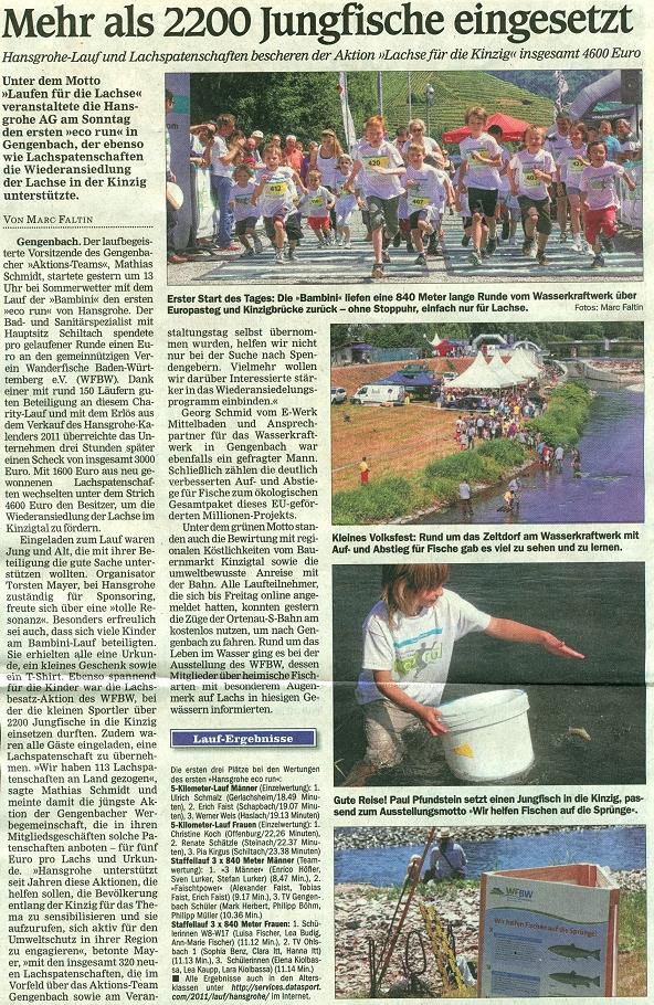 Aktionsteam Gengenbach - Zeitungsbericht - OT - 30.05.2011 - ECO-RUN/Lachsbesatz
