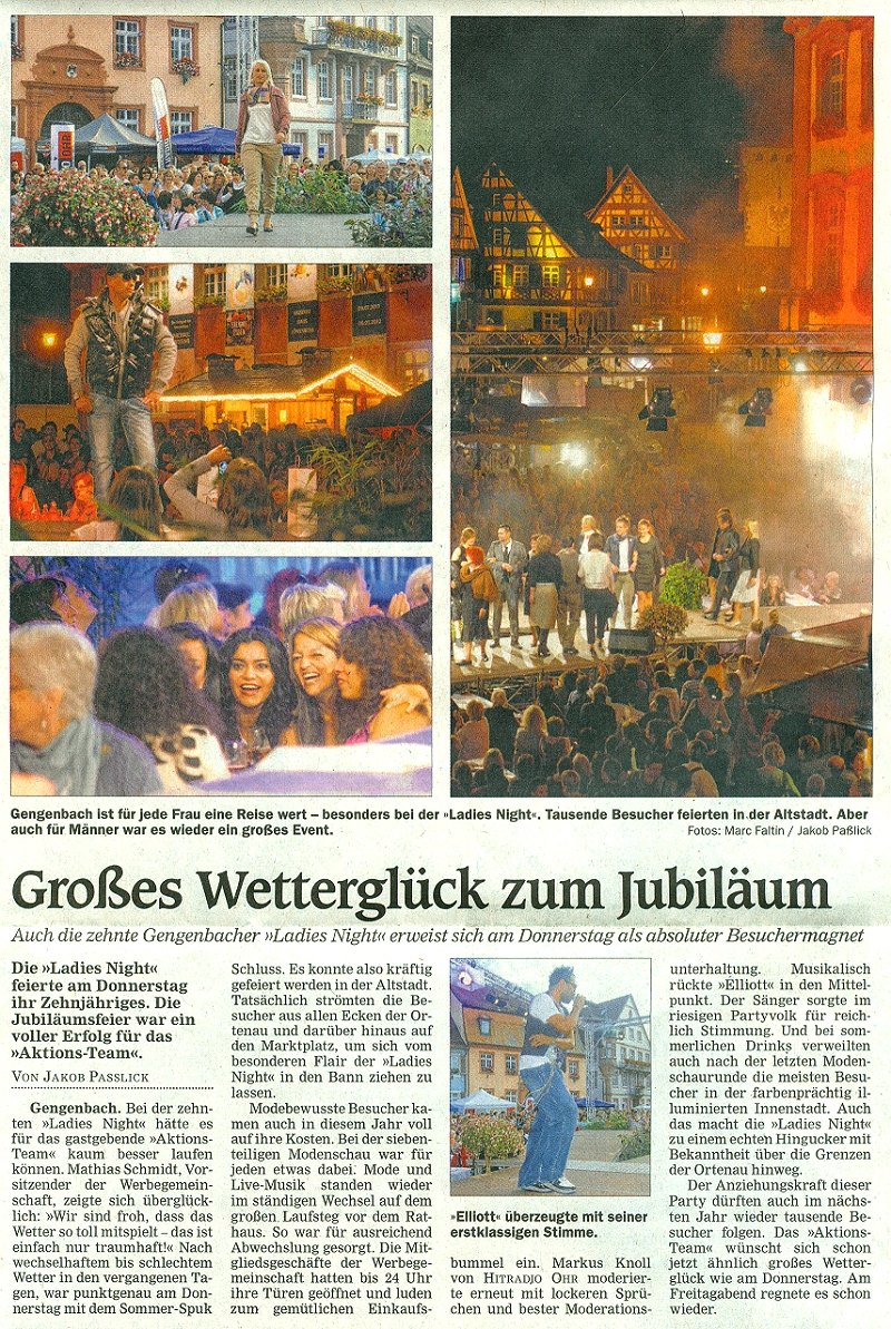Aktionsteam Gengenbach - Nachbericht - Offenburger Tageblatt - Ladies Night 2011