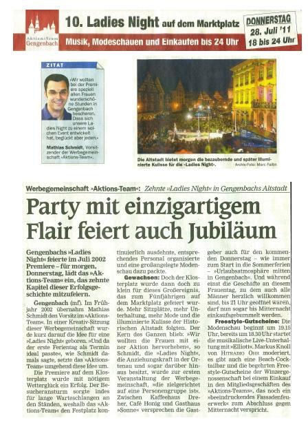 Aktionsteam Gengenbach - Vorschau - Kollektiv Zusammenfassung - Ladies Night 2011