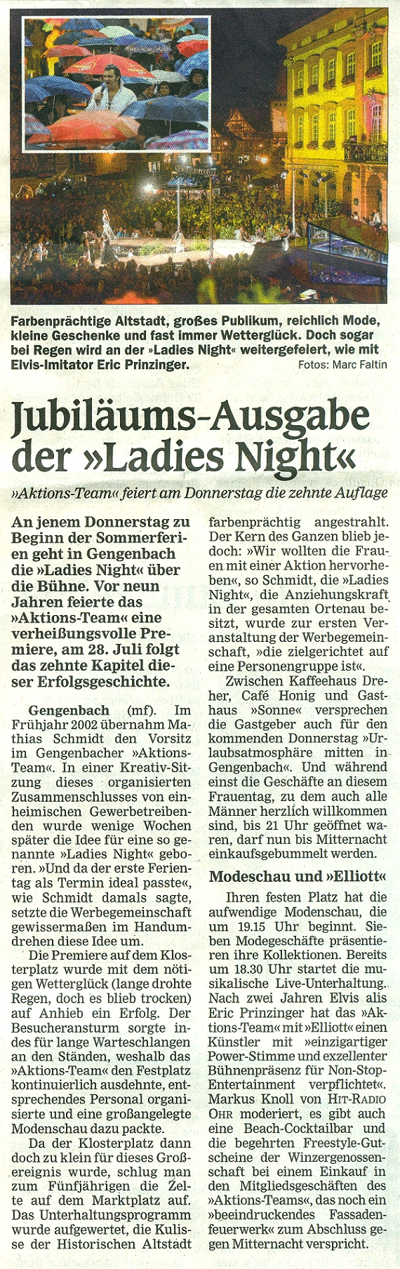 Aktionsteam Gengenbach - Vorbericht Ladies Night - Offenburger Tageblatt - 25.07.2011