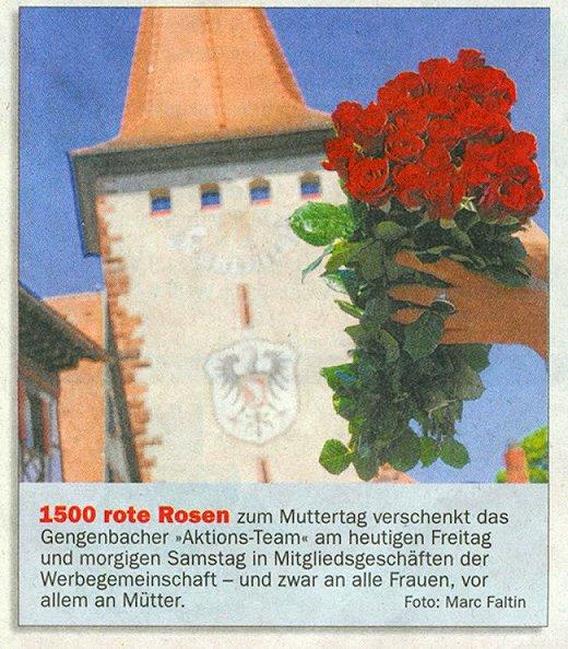 Aktionsteam Gengenbach - Zeitungsbericht - OT - 06.05.2011 - 1500 Rote Rosen zum Muttertag