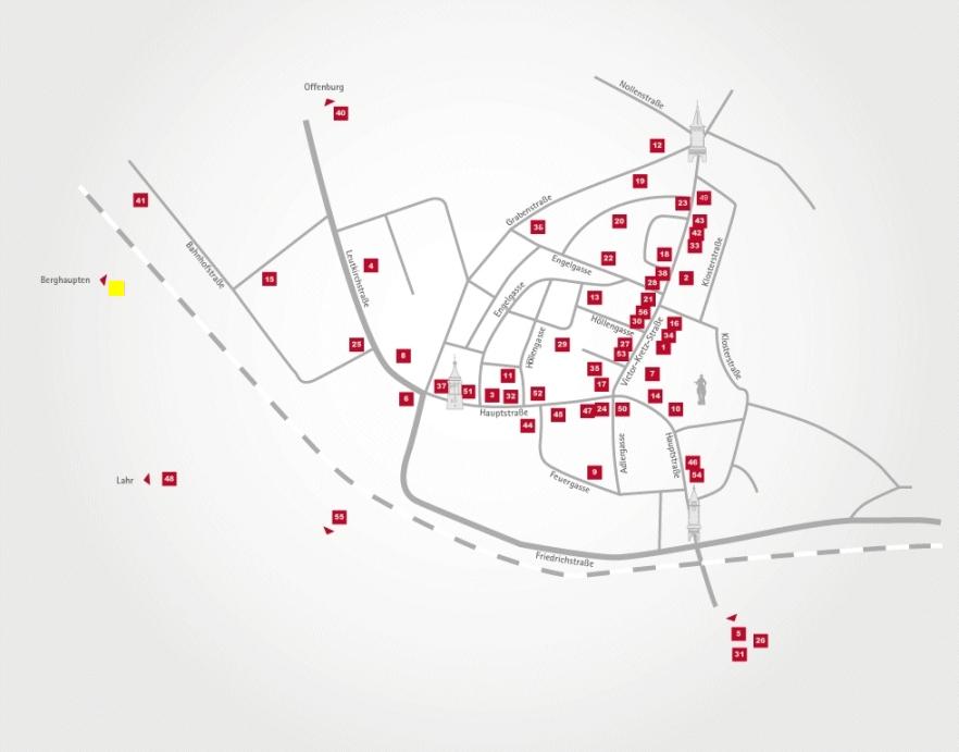 Aktionsteam Gengenbach - Stadtplan - Flammenkuchenbäckerei Platz - Dieter Platz - Berghaupten